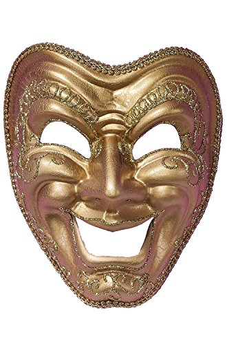 Forum Comedy Mask, Gold, One Size -