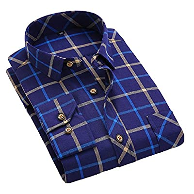 Men's Plaid Long Sleeve Classic Casual Shirts