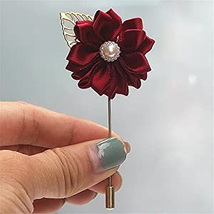 KUPARK Groom Boutonniere Men's Brooch Pin Corsage Ribbon Rose Flower Wedding Party Prom Suit Decoration 54