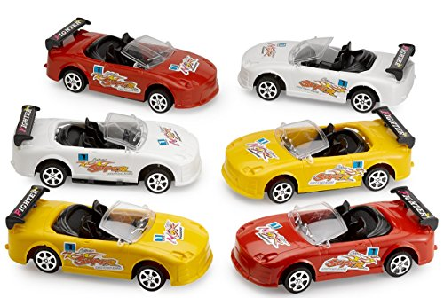 Kicko Friction Racing Pullback Cars - 6 Pack of 7 Inch Fast Speed Plastic Vehicles, Party Favors and Favorite Bag - 7 Back Inch Pull