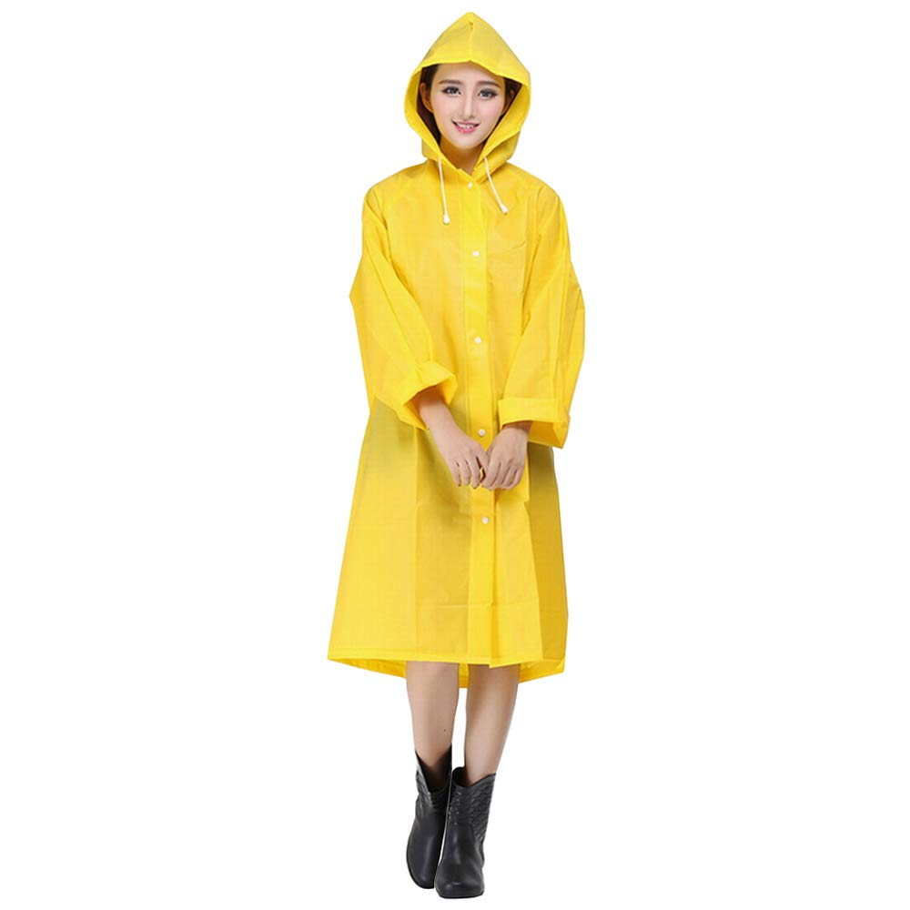 KALAIXING Portable Raincoat Rain Poncho with Hoods and Sleeves, Keep The Rain/Snow / Water Off Your Clothes, for Camping/Travel / Mountaineering-Yellow