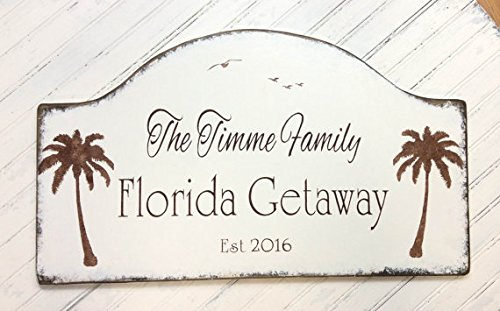 Florida getaway and snowbird sign, custom beach house decor, personalized lake plaque, Tropical house sign 24