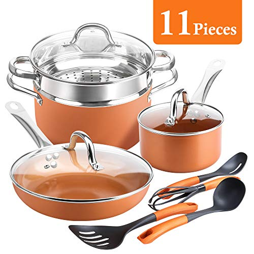 - SHINEURI 11 Pieces Set Fry Pans and Pots -9.5 inch Fry Pan with Lid, 6qt Stockpot with Lid, 1.5 qt Saucepan with Lid, Steamer Insert & 4 set Cooking Utensils - Perfect for Stir fry, Grill Roast, Sauce