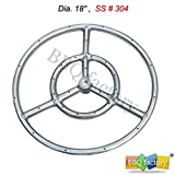 bbq factory Stainless Steel Fire Pit Burner Ring, 18-Inch dia, SS #304