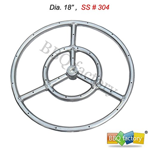 bbq factory Stainless Steel Fire Pit Burner Ring, 18-Inch dia, SS #304 - Precision Flame Gas Grill Burner