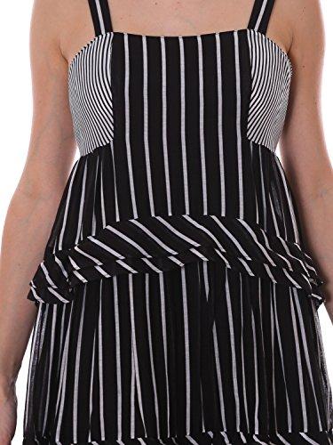 Twin Set Damen TS82ZT2504 Weiss/Schwarz Baumwolle Kleid OODy0YTG