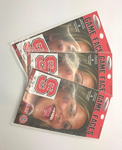 3 Pack - NC State Wolfpack Temporary Tattoos - 12 Total Tattoos