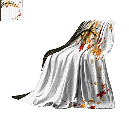 Luckyee Lightweight Blanket Fall Decorations,Leaf Group Motion in Mother Earth Transition from Summer to Winter Decor,Brown Orange Lightweight E x tra Big Bed or Couch 60