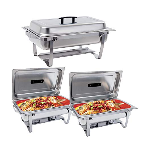 ng Dish Stainless Steel Chafer Dish Full Size Chafers and Buffet Warmers Rectangular Chafers W/Water Pan Food Pan Fuel Holder and Lid for Parties with Folding Frame (3 Packs) ()