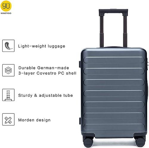 NINETYGO 3PCS 100 Polycarbonate Hardside Luggage Set 20 24 28 Inch Hardshell Suitcase With TSA Approved Lock for Business Travel, 360 Rolling Spinner Wheels, Unexpandable, Grey