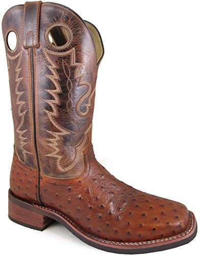 Ostrich Skin Boots - Smoky Mountain Men's Danville Pull On Stitched Textured Square Toe Cognac/Brown Crackle Boots 10.5EE