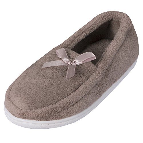 Forever Dreaming Womens Plain Memory Foam House Shoes Fur Moccasin Slippers with Ribbon Taupe wApXh7r