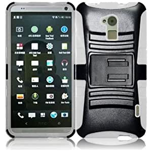 HTC One Max T6 Hybrid Dual Layer Hard Skin Gel With Stand Protector Case Cover - Black on White