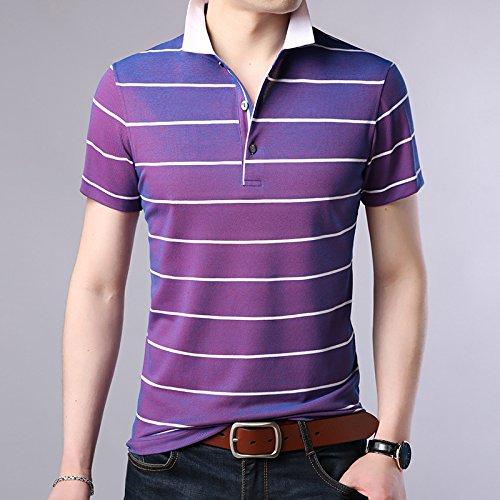 XiaoGao homme rayé à manches courtes, patron de revers de polo,violet