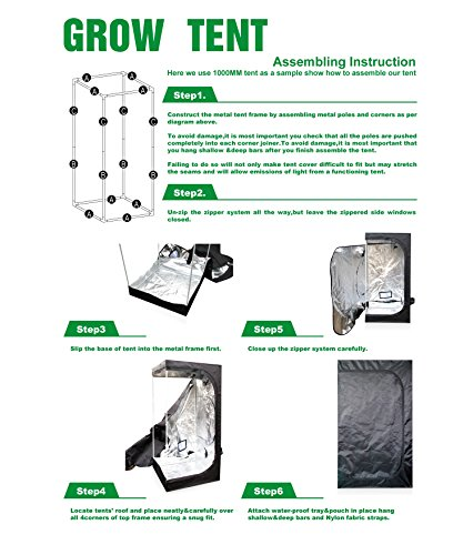 ECO-WORTHY 32''X32''X63'' Mylar Hydroponics Grow Tent for Indoor Plant Growing by ECO-WORTHY (Image #6)
