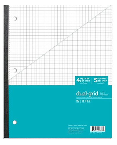(Office Depot Brand Wireless Notebook, 8 1/2in x 11in, 1 Subject, Dual-Sized Quadrille Ruled (4in x 4in, 5in x 5in), 80 Sheets, Teal)