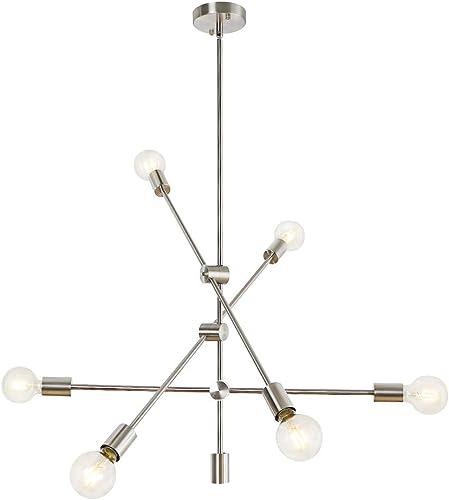 LynPon Sputnik Chandelier 6 Lights Modern Ceiling Light Fixture Brushed Nickel Industrial Vintage Pendant Lighting for Dining Room Kitchen Island Bedroom Living Room Foyer