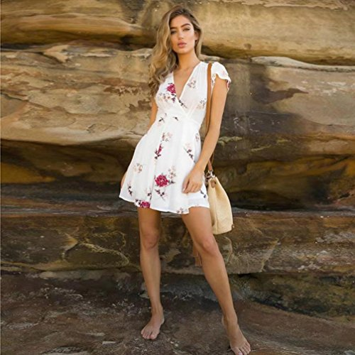 Sundrss Beach Blanc beautyjourney Grande Pull Col BohMe Summer Sexy V Pull Robe Robe Maxi Femme Lady Sexy Sexy Hiver Pull Fleurs Taille Femmes Robe Mini Femme Robe Robe Femme 6n76fWq