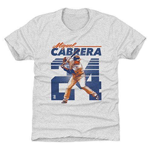500 LEVEL Detroit Baseball Youth Shirt - Kids Small (6-7Y) Tri Ash - Miguel Cabrera Retro B