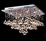 Unimall Modern Elegant Square Chandelier Ceiling Light Crystal Droplets Pendant Lighting Living Room Bedroom Chandelie