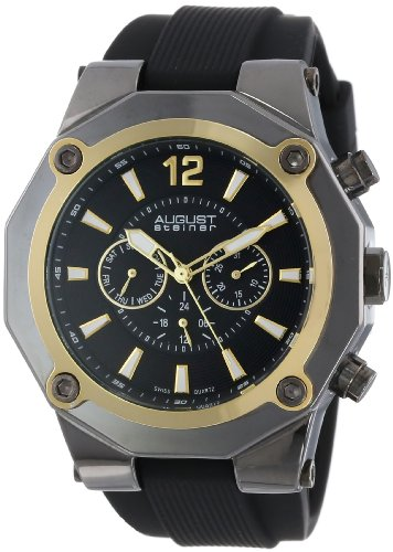 August Steiner Men's AS8080YG Swiss Multi-Function Gold-Tone Silicone Strap Watch ()