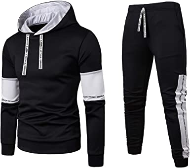 Men's Sweat Suits, Color Block Letter Print Casual Pullover