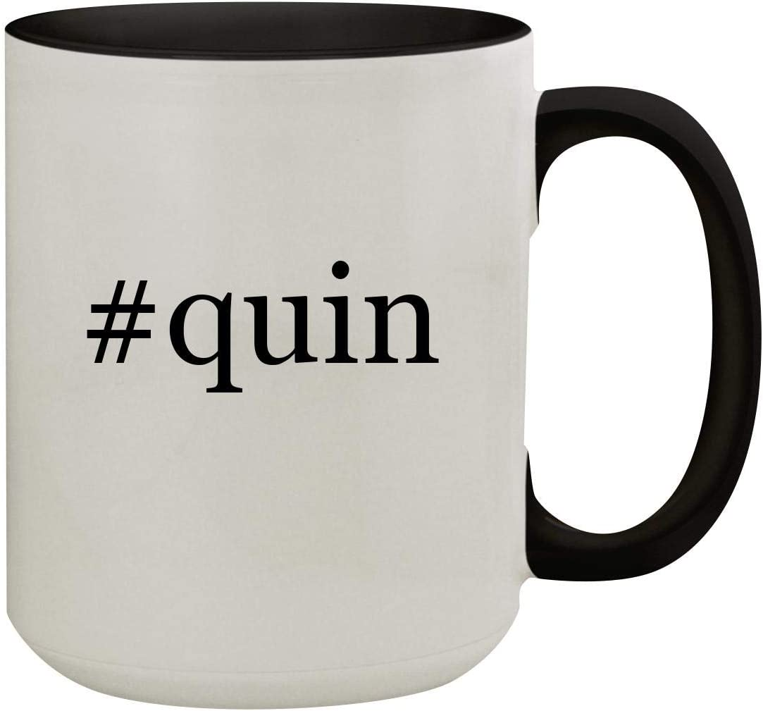 #quin - 15oz Hashtag Colored Inner & Handle Ceramic Coffee Mug, Black