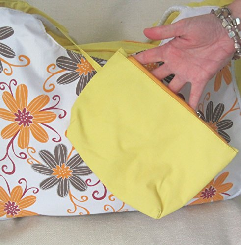with Grey Beach 21cm D amp; W Bag internal useful 52x with LARGE Flowers 33x H Yellow purse Orange q6Agq