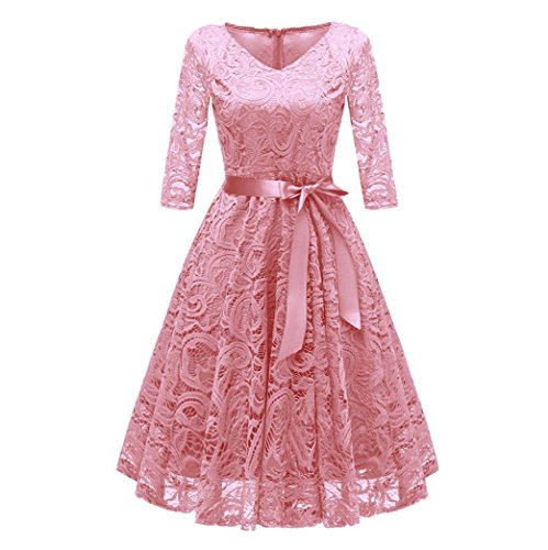Todaies Women Lace Dress Women Vintage Princess Dress Floral Cocktail V-Neck Party Aline Swing Dress (M, Pink)