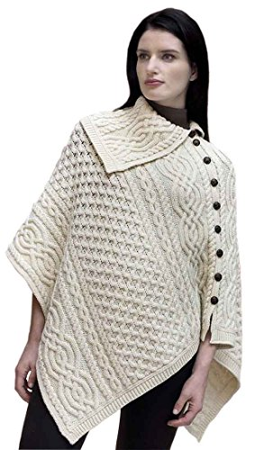Carrolls Irish Gifts Ladies Traditional Buttoned Cowl Neck Poncho, Natural Colour by Carrolls Irish Gifts