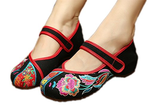 Qhome Women's Chinese Velcro Embroidered Oxfords Sole Dance shoes