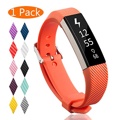KingAcc Compatible Replacement Bands for Fitbit Alta HR, Fitbit Alta, Silicone Fitbit Alta HR Band Alta Band, Buckle Wristband Strap Women Men (1-Pack, Orange, Large)