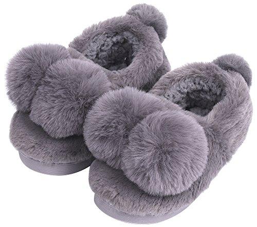 UIESUN Unisex Cute Ball Toddler Shoes Slippers Boy Girl Winter Soft Bedroom Indoor House Dark Grey-18/19