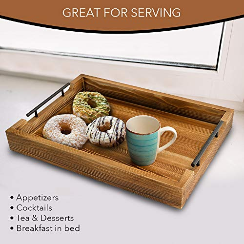 "Rustic Serving Tray by East World – 20"" Decorative Tray, Torched Wood Tray, Food Tray, Tea Coffee Tray, Serving Trays for Parties, Wooden Serving Trays for Ottomans and Breakfast in Bed Tray Table! by East World (Image #3)"