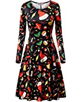 HUHOT Xmas Dress Women, Women Xmas Santa Flowy...
