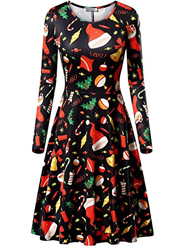 HUHOT Black Christmas Dresses, Women Xmas Santa Tree Bells Print Midi Dress(Black Bells,XX-Large) Plus Size Womens Christmas Costumes