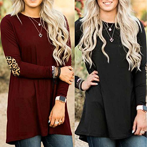 Leopard Long Casual Ladies Black Casual Tops Blouse Sleeve Loose Pullover Womens NEEDRA E75w11