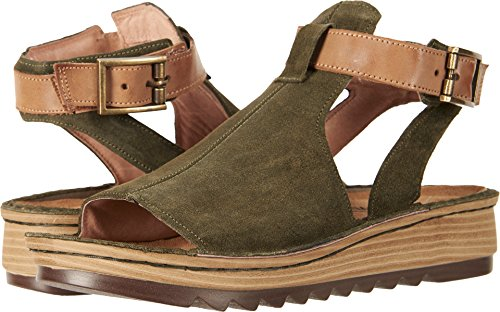 Naot Footwear Women's Verbena Brushed Oily Olive Suede/Vintage Camel Leather 38 M EU (Leather Footwear Vintage)