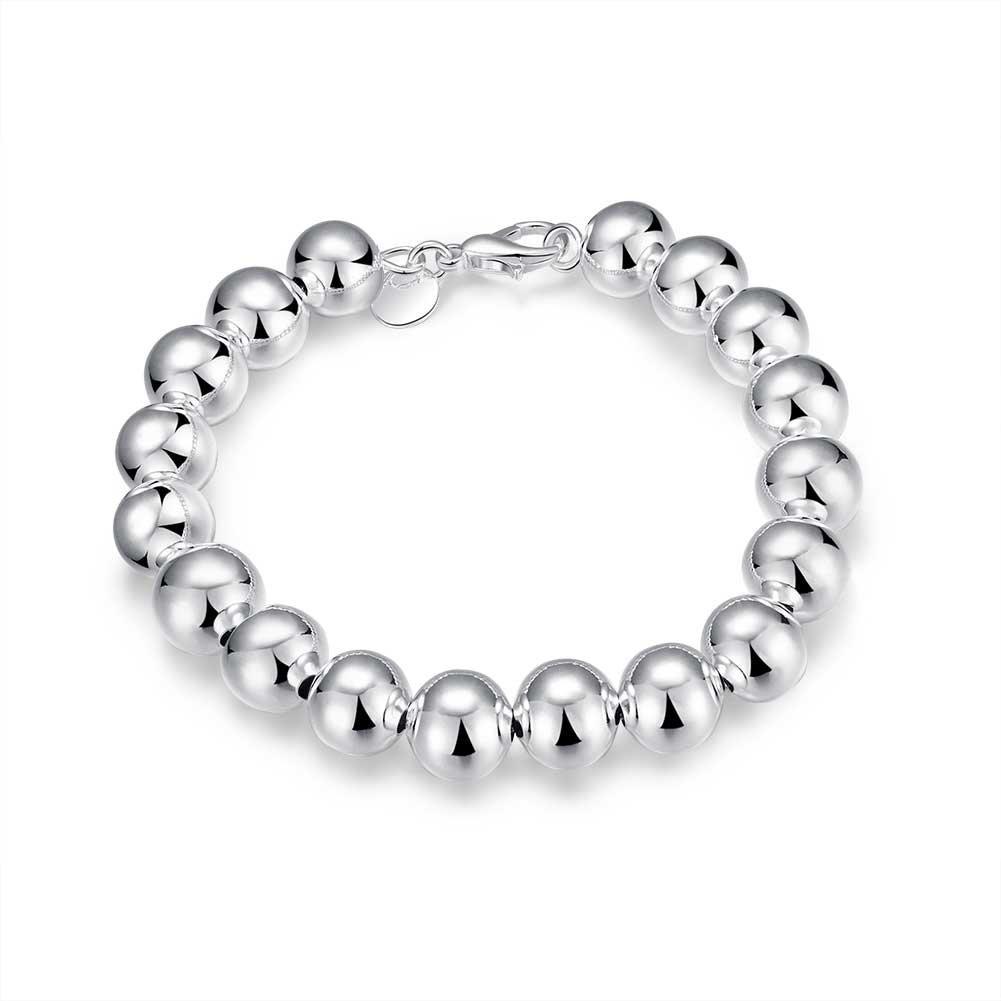4MM Bead Diameter:4mm//6mm//8mm//10mm Greendou Fashion Jewelry 925 Sterling Silver Smooth Beads Bracelet