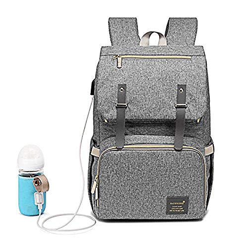 Diaper Bag Backpack, Multi-Function Waterproof Travel Back Pack Baby Changing Bags with Heating Bottle Case & Insulated Pockets & Stroller Straps & USB Charging Port for Mom Dad (Grey)