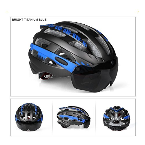 V-Best Bike Cycling Helmet with Detachable Magnetic Goggles Visor Shield Adjustable Men Women Road & Mountain Biking Bicycle Helmet Safety Protection (Titanium Blue, - Best Cycling Goggles