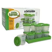 Baby Food Containers By Little Sprout: Reusable Stackable Storage Cups with Tray and Dry-erase Marker (Set of 12 - 2oz)- 100% BPA Free