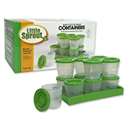 Baby Food Containers: Reusable Stackable Freezer Safe Storage Cups w/ Tray & Dry-erase Marker (Set of 12 - 2oz) BPA & PVC Free