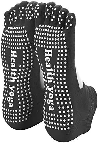 Reehut Non Slip Skid Yoga Socks Toe/Toeless w/ Grip for Exercise, Barre, Bikram, Pilates & Workout