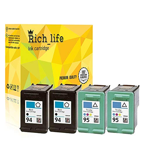 Rich_life Remanufactured Ink Cartridge Replacement for HP 94 C8765WN & HP 95 C8766WN for HP Printer Deskjet Officejet Photosmart PSC SERIES 4 Pack (2 Black, 2 ()