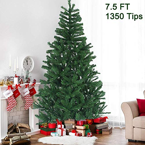 MAGGIFT 7.5 ft Artificial Christmas Tree Upgrade Fake Xmas Tree with Durable Metal Legs, Home Holiday Christmas Decorations, Easy Assembly 1350 Tips (Xmas Trees Decorated)