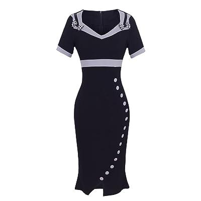 HOMEYEE Women's Elegant Sweetheart Neck High Waist Career Dress UB220