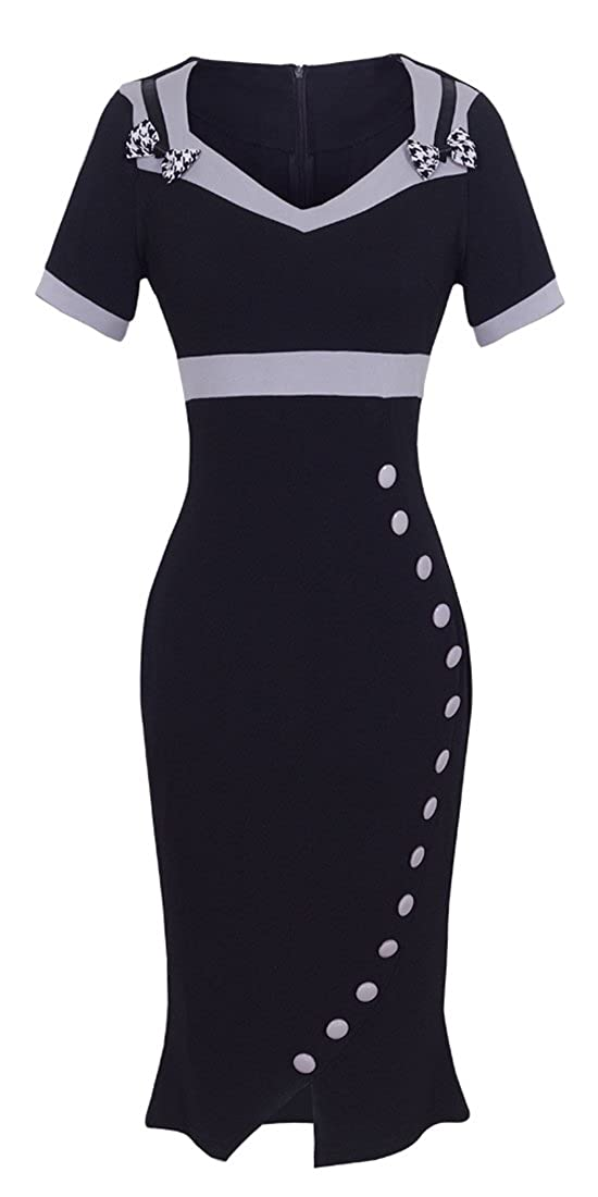 1950s Pencil Dresses & Wiggle Dress Styles HOMEYEE Womens Elegant Sweetheart Neck High Waist Career Dress UB220 $30.99 AT vintagedancer.com