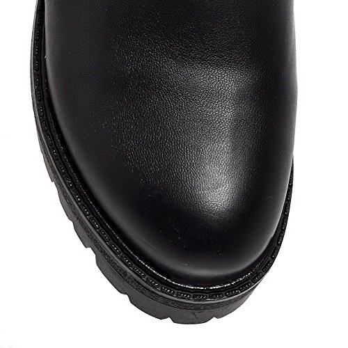 Low Solid Kitten Heels Women's Soft Material AgooLar top Black Zipper Boots x05awXfqC