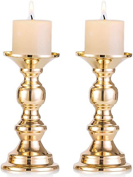 Amazon Com Nuptio Set Of 2 Gold Candlestick Metal Pillar Candle Holders Wedding Centerpieces Candlestick Holders For 2 Inches Candles Stand Decoration Ideal For Weddings Special Events Parties Home Kitchen